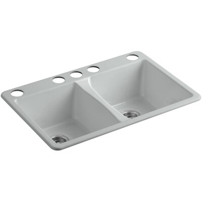 Deerfield 33 x 22 x 9-5/8 Top-Mount Double-Equal Kitchen Sink Finish: Ice Grey, Number of Faucet Holes: 5