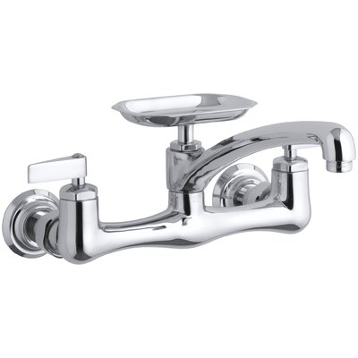 Clearwater Double Lever Handle Sink Supply Faucet with Swing Spout and Soap Dish Finish: Polished Chrome