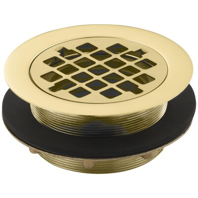 Round 2 Grid Shower Drain Finish: Vibrant Polished Brass