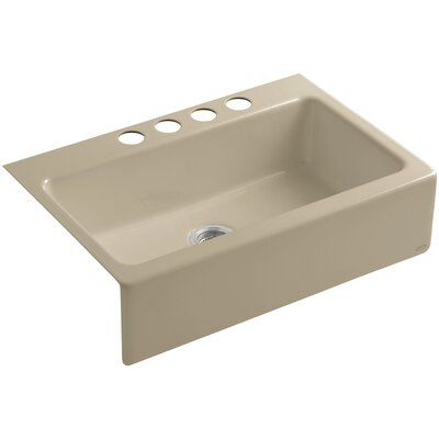 Dickinson 33 x 22-1/8 x 8-3/4 Apron-Front, Under-Mount Single-Bowl Kitchen Sink with 4 Oversize Faucet Holes Finish: Mexican Sand