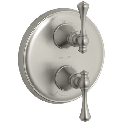 Revival Valve Trim with Traditional Lever Handle for Stacked Valve Finish: Vibrant Brushed Nickel