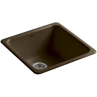 Iron Tones 20-7/8 x 20-7/8 x 10 Top-Mount/Under-Mount Single-Bowl Kitchen Sink Finish: Black n Tan