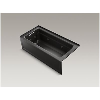 Archer Whirlpool with Integral Apron, Left-Hand Drain and Heater Finish: Black Black