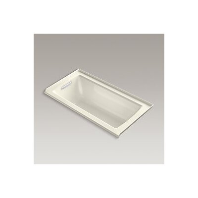 Archer Alcove Vibracoustic Bath with Tile Flange and Left-Hand Drain Finish: Biscuit