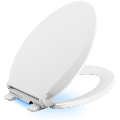 Cachet Nightlight Quiet-Close with Grip-Tight Elongated-Front Toilet Seat Finish: White