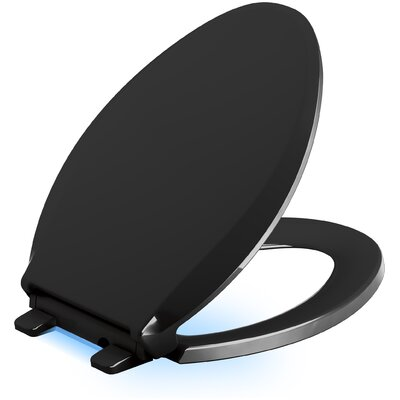 Cachet Nightlight Quiet-Close with Grip-Tight Elongated-Front Toilet Seat Finish: Black Black