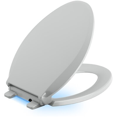 Cachet Nightlight Quiet-Close with Grip-Tight Elongated-Front Toilet Seat Finish: Ice Grey