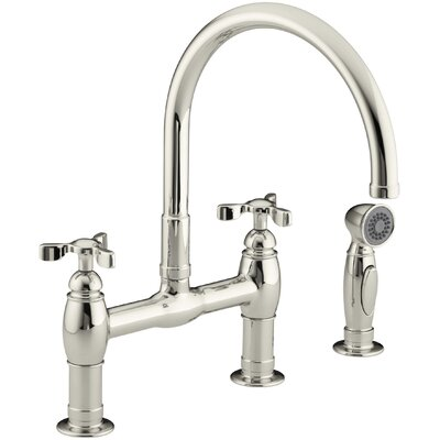 Parq Bridge Faucet with Side Spray Finish: Polished Nickel