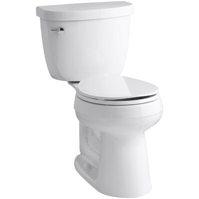 Cimarron Comfort Height Two-Piece Round-Front 1.6 GPF Toilet with Aquapiston Flush Technology and Left-Hand Trip Lever Finish: White