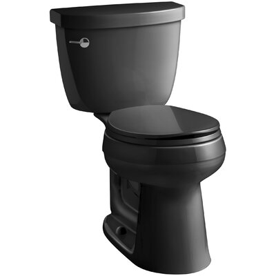 Cimarron Comfort Height Two-Piece Round-Front 1.6 GPF Toilet with Aquapiston Flush Technology and Left-Hand Trip Lever Finish: Black Black