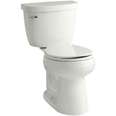 Cimarron Comfort Height 2 Piece Round-Front 1.28 GPF Toilet with Aquapiston Flush Technology and Left-Hand Trip Lever Finish: Dune