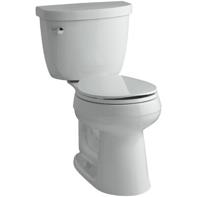 Cimarron Comfort Height Two-Piece Round-Front 1.6 GPF Toilet with Aquapiston Flush Technology and Left-Hand Trip Lever Finish: Ice Grey
