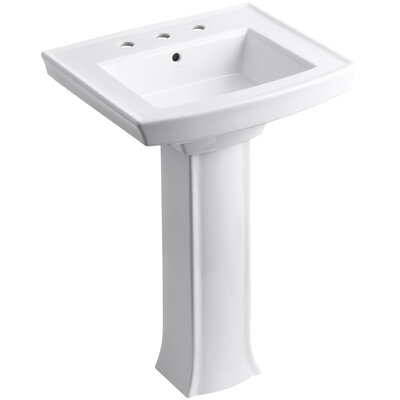 Archer Pedestal Bathroom Sink Finish: White, Faucet Hole Style: 8 Widespread