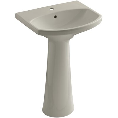 Cimarron Ceramic 23 Pedestal Bathroom Sink with Overflow Finish: Sandbar, Faucet Hole Style: 4 Centerset