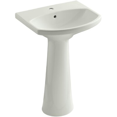 Cimarron Ceramic 23 Pedestal Bathroom Sink with Overflow Finish: Dune, Faucet Hole Style: Single