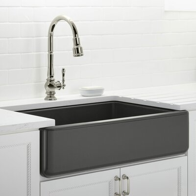 Whitehaven Self-Trimming 35.69 x 21.56 Farmhouse Single Bowl Kitchen Sink Finish: Thunder Grey
