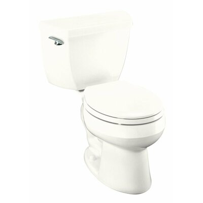 Wellworth Classic Two-Piece Round-Front 1.28 GPF Toilet with Class Five Flush Technology, Left-Hand Trip Lever and Tank Cover Locks Finish: White