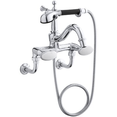 Antique Floor- or Wall-Mount Bath Faucet with Oval Handles and Handshower Finish: Polished Chrome