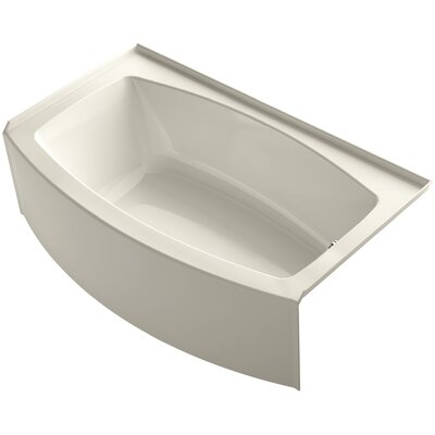 Expanse 60 x 30-36 Soaking Bathtub Finish: Almond, Drain Location: Right