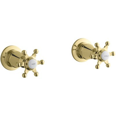 Antique Wall-Mount Valve Trim with Six-Prong Handles Finish: Vibrant Polished Brass