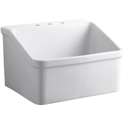 Hollister 28 x 22 Single Bracket-Mounted Utility Sink with Widespread Faucet Holes