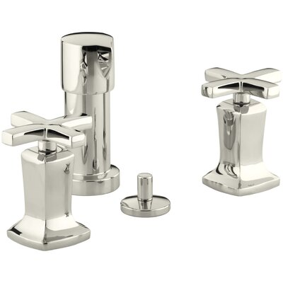 Margaux Vertical Spray Bidet Faucet with Cross Handles Finish: Vibrant Polished Nickel