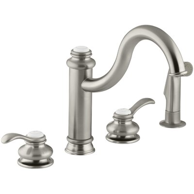 Fairfax 4-Hole Kitchen Sink Faucet with 9-3/8 Spout, Matching Finish Sidespray Finish: Vibrant Brushed Nickel