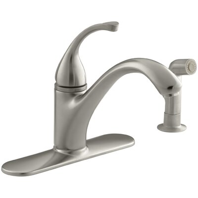 Fort� 4-Hole Kitchen Sink Faucet with 9-1/16 Spout, Matching Finish Sidespray Finish: Vibrant Brushed Nickel