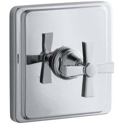 Pinstripe Valve Trim with Pure Design Cross Handle for Thermostatic Valve, Requires Valve Finish: Polished Chrome
