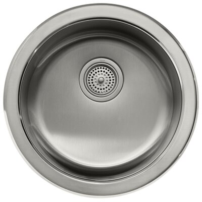 Undertone  Lyric 18-3 8 Diameter x 7-5 8 Top-Mount Under-Mount Single Circular Bowl Kitchen Sink