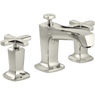 Margaux Widespread Bathroom Sink Faucet with Cross Handles Finish: Vibrant Polished Nickel