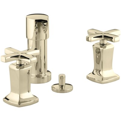 Margaux Vertical Spray Bidet Faucet with Cross Handles Finish: Vibrant French Gold