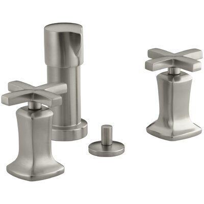Margaux Vertical Spray Bidet Faucet with Cross Handles Finish: Vibrant Brushed Nickel