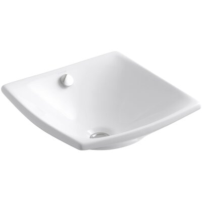 Escale Square Vessel Bathroom Sink with Overflow Sink Finish: White