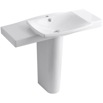 Escale Ceramic 40 Pedestal Bathroom Sink with Overflow Sink Finish: White