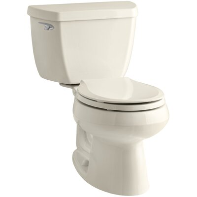 Wellworth Classic Two-Piece Round-FrontToilet with Class Five Flush Technology and Left-Hand Trip Lever Finish: Almond