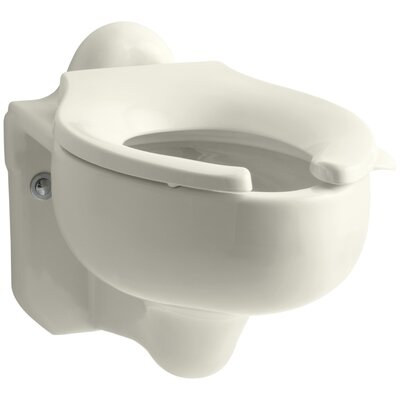 Sifton Wall-Mounted 3.5 GPF Water-Guard Flushometer Valve Elongated Blow-Out Toilet Bowl with Rear Inlet, Requires Seat Finish: Biscuit