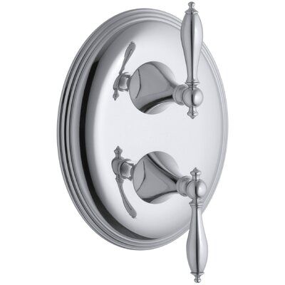 Finial Traditional Valve Trim with Lever Handles for Stacked Thermostatic Valve Trim, Requires Valve Finish: Polished Chrome