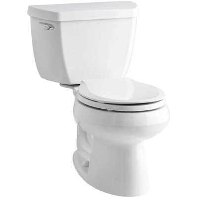 Wellworth Classic Two-Piece Round-FrontToilet with Class Five Flush Technology and Left-Hand Trip Lever Finish: White