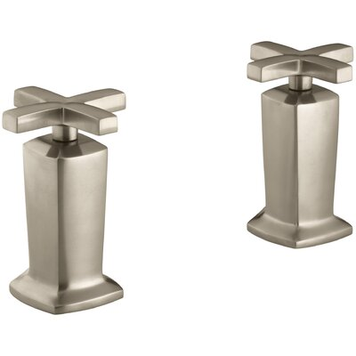 Margaux Valve Trim with Cross Handles for Deck-Mount High-Flow Bath Valve, Requires Valve Finish: Vibrant Brushed Bronze