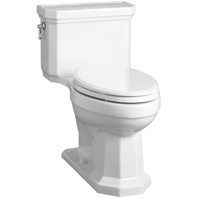 Kathryn Comfort Height Elongated One-Piece 1.28 GPF Toilet with Aquapiston Flush Technology, Left-Hand Trip Lever and Concealed Trapway Finish: White