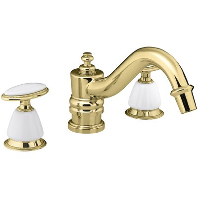 Antique Bath Faucet Trim for Deck-Mount High-Flow Valve with Oval Handles, Requires Ceramic Handle Insets and Skirts, Valve Not Included Finish: Vibrant Polished Brass