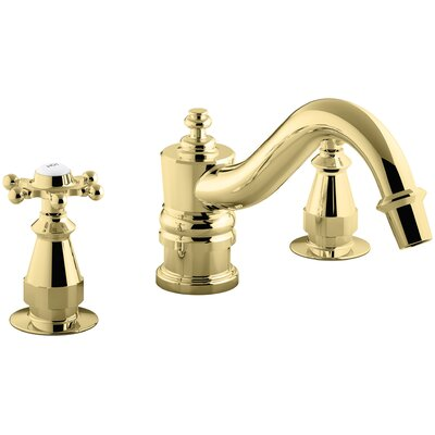 Antique Bath Faucet Trim for Deck-Mount High-Flow Valve with 6-Prong Handles, Valve Not Included Finish: Vibrant Polished Brass