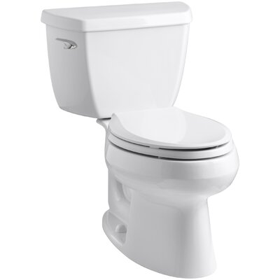 Wellworth Classic Two-Piece Elongated 1.28 GPF Toilet with Class Five Flush Technology, Left-Hand Trip Lever and Tank Cover Locks Finish: White