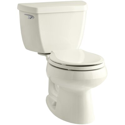 Wellworth Classic Two-Piece Round-FrontToilet with Class Five Flush Technology and Left-Hand Trip Lever Finish: Biscuit