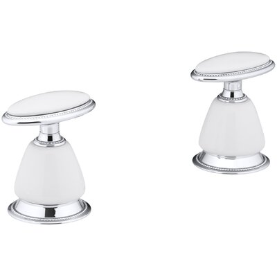 Antique Deck-Mount High-Flow Bath Valve Trim with Handles, Requires Ceramic Handle Skirts, Valve Not Included Finish: Polished Chrome