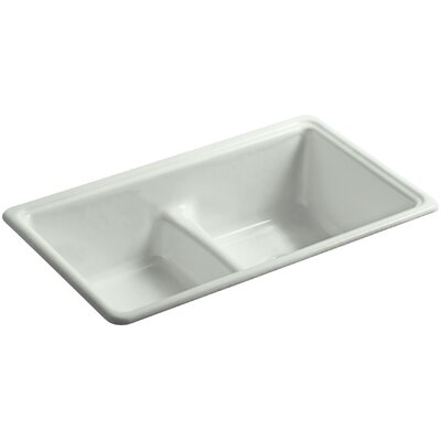 Deerfield 33 x 19-3/8 x 9-5/8 Top-Mount/Under-Mount Smart Divide Double-Equal Bowl Kitchen Sink Finish: Sea Salt