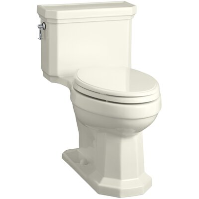Kathryn Comfort Height Elongated One-Piece 1.28 GPF Toilet with Aquapiston Flush Technology, Left-Hand Trip Lever and Concealed Trapway Finish: Biscuit