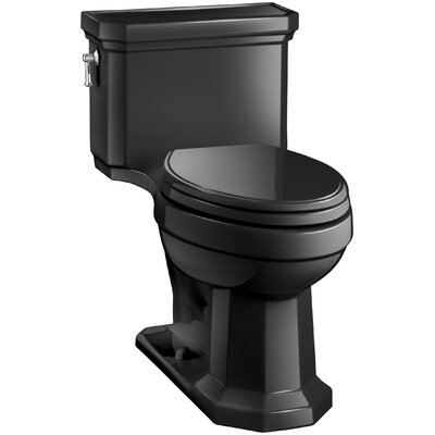 Kathryn Comfort Height Elongated One-Piece 1.28 GPF Toilet with Aquapiston Flush Technology, Left-Hand Trip Lever and Concealed Trapway Finish: Black Black