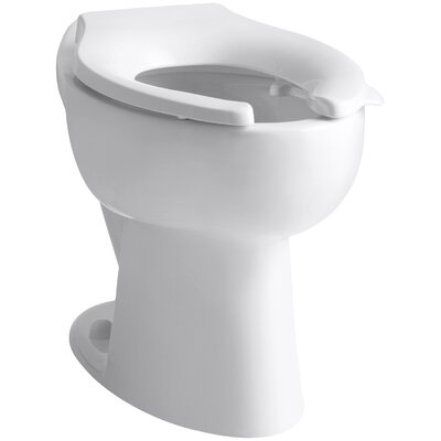Highcrest 1.6 GPF 16-1/2 Ada Elongated Toilet Bowl with Rear Inlet and Bedpan Lugs, Requires Seat Finish: White